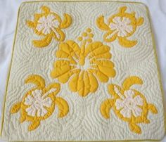 2 Hawaiian quilt throw pillow cover 18x18 100% hand quilted/100% hand appliqued