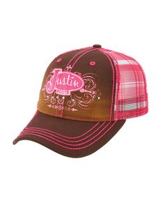 Justin Ladies Cotton Twill Plaid and Mesh Back Cap - Brown  http://www.countryoutfitter.com/products/52409-ladies-cotton-twill-plaid-and-mesh-back-cap-brown