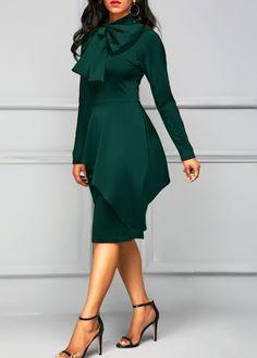Dark Green Tie Neck Peplum Waist Dress  | Rosewe.com - USD $34.88