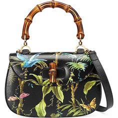 Gucci Bamboo Classic Tropical-Print Top-Handle Satchel Bag ($2,490) via Polyvore featuring bags, handbags, borse, black multi, gucci purses, satchel purses, hand bags, handbag satchel and purse satchel