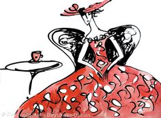 Lady+in+a+Red+Dress+-+Coloured+ink+on+paper