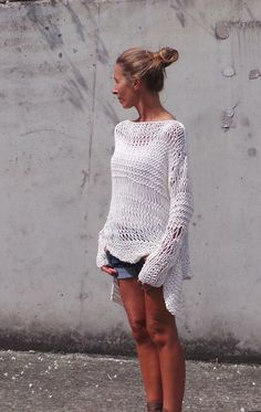 white sweater / ivory sweater / loose knit / Cotton Sweater in Ivory cream  with an asymmetrical hemline