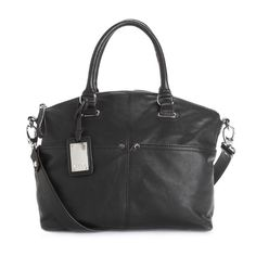 Black 'Polished Pockets' Leather Convertible Bag Beautiful classic black leather purse by Tignanello. Two front and two rear exterior slip pockets, shoulder straps with an attachable cross body strap, and flat bottom with feet for protection. Top zip closure and two interior pockets. In excellent gently used condition. Lining has some staining, and there is wear on the shoulder strap.  Width: 11 in. Height: 10 in.  Strap drop: 12 in.  Handle drop: 5 in. Tignanello Bags