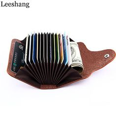 Leeshang Genuine Cow Leather Women Card Holder Business 13 Card Slot Ladies Card Wallet 6 Solid Color Card Case Organizer Wallet