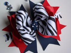 Navy Blue and Red Bow Black Zebra Ribbon Aristoi Classical Academy Katy TX ransomletterhandmade, $10.00
