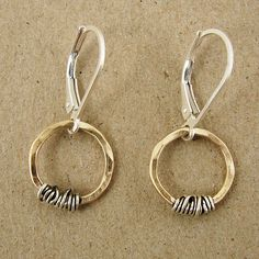 These mixed-metal earrings would look good with copper instead of gold, too.