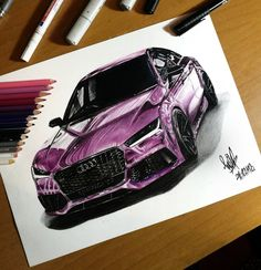 Audi – SadekBell – Draw to Drive - New Sites Painting Logo, Car Painting, Colored Pencil Portrait, Color Pencil Art, Bike Sketch, Car Sketch, Car Drawings, Realistic Drawings, Motorcycle Design