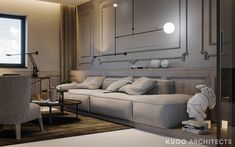 A super swanky interior awaits us in this ritzy home near London, UK, visualised by Polish firm KUOO Architects. The enormous project is filled wall to wall wit Futuristisches Design, Minimal Living, London Apartment, London House, Uk Homes, Contemporary Interior Design, One Bedroom, Lounge, Decoration