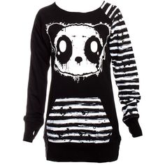 Killer Panda by Poizen Industries Raw Top (Black) ($55) ❤ liked on Polyvore featuring tops, shirts, sweaters, jackets, dresses, poizen industries, panda bear shirt, panda shirt, black shirt and black top