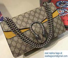 Gucci Dionysus GG Supreme Canvas Shoulder Bag 400249 Yellow 2017