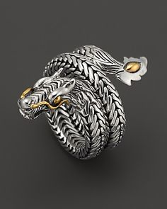 John Hardy Naga 18K Gold and Sterling Silver Dragon Coil Ring