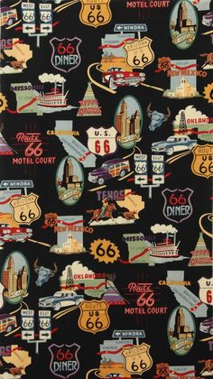 Route 66 (Black) by Alexander Henry Route 66 Usa, Route 66 Road Trip, Travel Themes, Travel Posters, Route 66 Theme, Tatto Old, West East, Automotive Art, Street Signs