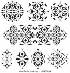 Versions of Ottoman decorative arts, abstract flowers by antsvgdal, via Shutterstock - New Deko Sites Persian Pattern, Arabic Pattern, Arabesque, Perfume Logo, Islamic Patterns, Floral Drawing, Arabic Art, Islamic Art Calligraphy, Appliques