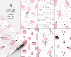 Pink birthday party digital paper pack Cartoon Girl Balloons Flamingo Poodle dog Gift box Sweets Cake Candy seamless pattern Commercial use Pink Birthday, Birthday Parties, Doll Drawing, Sweets Cake, Girl Cartoon, Poodle, Flamingo, Balloons, Commercial