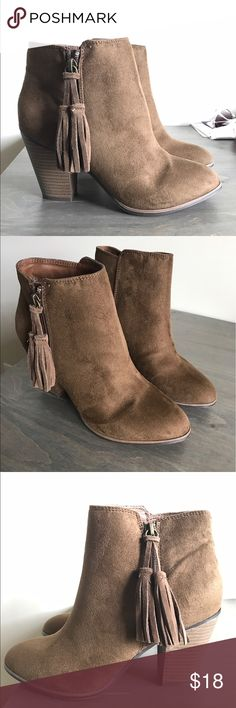 Merona Ankle Boots size 7.5 Brown suede ankle boots with a 3 inch heel. Never worn in perfect condition. Merona Shoes Ankle Boots & Booties