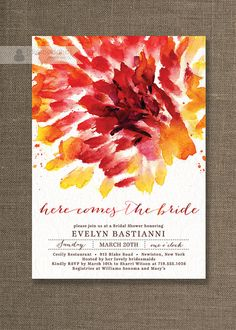 Red Watercolor Bridal Shower Invitation Lace Shabby Chic Abstract Flower Wedding Invite Bloom Printable Digital or Printed - Evelyn Style available at digibuddha.com