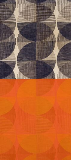 """Spheres (""""Black on Natural"""" and """"Red and Orange on Persimmon"""" colorways) Ross Littell (American, 1924–2000) Made by Winston Prints for KnollTextiles Introduced 1959. www.KnollTextiles.com"""