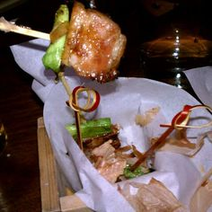 Bacon Sen (grilled kurobuta pork, green onion and fish caramel) from Uchiko in Austin, TX.  Uchiko is where Paul Qui -- Top Chef winner -- works.