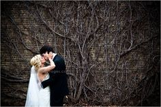 Michigan Wedding Photographers  www.ArisingImages.com  bride and groom in front of vine wall