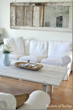 old door mirror and barn door coffee table