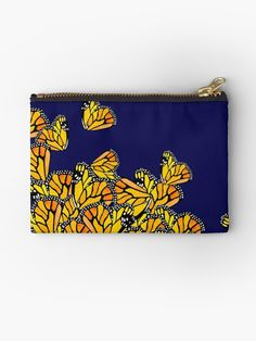 """""""Monarchs At Midnight"""" Studio Pouches by amayabrydon Spring Nature, Butterfly Pattern, Black Rock, Monarch Butterfly, Dresses With Leggings, Gifts For Family, Zipper Pouch, Iphone Wallet, Cotton Tote Bags"""