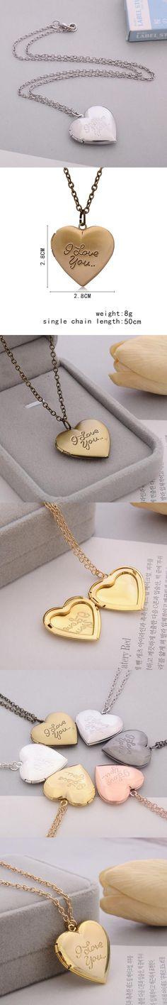 """I love you"" Carved 6 Colors DIY Love Heart Secret Message Locket Necklace Pendant Vintage Gift For Lover Couples Custom Message"
