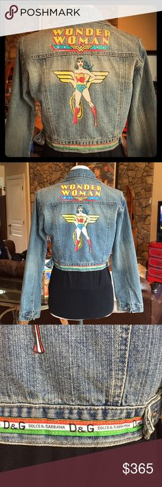 Dolce & Gabbana Wonder Woman Jean Jacket OMG YES This jacket is so amazing it brings tears to my eyes. Vintage D&G denim. Size 4. Mint condition w/ the exception of the wrist button, which is missing the top plate (unnoticeable when being worn see last photo). D&G insignia across the waistband and black labels on front pocket and inside tag. I've only seen one other jacket similar to this one. Factory distressing under both breast pockets. Bust (buttoned up): up to 39, Waist band (buttoned…