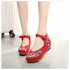 New Beautiful Woman Spring Embroidered Shoes High Heeled Shoes Old Beijing Red -- Click image to review more details.