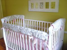 Bumperless Crib Bedding DESIGN YOUR OWN 3 Piece Teething Guard Rail Cover Set. $66.00, via Etsy.