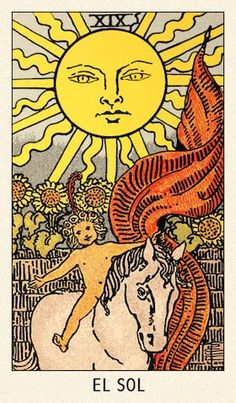 The Sun Tarot Card Meaning: one of the strongest and most positive cards in the deck. High energy, victory and happiness are announced by the Sun. Sun Wallpaper, Tarot Astrologico, The Sun Tarot Card, Tarot Card Art, Dessin Old School, Rider Waite Tarot Cards, Vintage Tarot Cards, Card Drawing, Tarot Card Meanings
