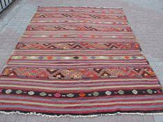 """VINTAGE Turkish Kilim Rug Carpet, Handwoven Kilim Rug,Kilim Rug ,Decorative Kilim, Natural Wool 75""""  X 119.3''"""