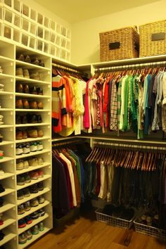 Master Closet Organization - note the shelves for shoes!