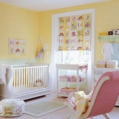 This room is so bright and sunshiney! Just looking at the space makes you smile! We love the warmth and almost tangible joy expressed through the colours and decor; it's a lovely nursery for a little girl! #babysroom #yellow