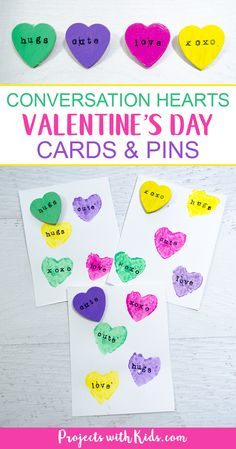These conversation hearts cards and pins are so fun for kids to make! The perfect Valentine's Day craft and art project kids will love making cards and cute jewelry for their friends. Valentines Games, Diy Valentines Cards, Valentines Day Activities, Valentine Day Crafts, Valentine's Day Crafts For Kids, Craft Projects For Kids, Art Projects, Valentine's Cards For Kids, Valentine's Day Printables