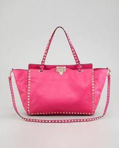 Rockstud Medium Tote Bag, Fuchsia by Valentino at Neiman Marcus.