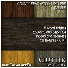 County Seat Wood Textures Panels. 256x512 and 512x1024 high resolution wood textures in seamless, shaded and grunge versions. These were specifically developed for use with native prims, plane-stitched sculpts and multi-face mesh models. Available at Clutter for Builders in Second Life. User license applies.