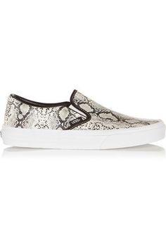 Snake-effect leather slip-on sneakers #sneakers #offduty #covetme #vans