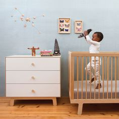 Oeuf NYC Sparrow Cot in Birch - See our full Oeuf Nursery Range online at @nubiekids