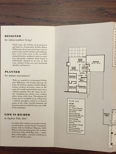 "Eichler Homes brochure c. 1952, ""Start Living in an Eichler Home""; floor plan 206 (Originals at UCLA Library Special Collection, A. Quincy Jones Papers)"