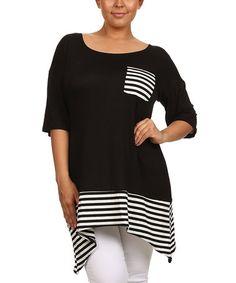 Look at this #zulilyfind! Black Stripe-Contrast Sidetail Tunic - Plus #zulilyfinds