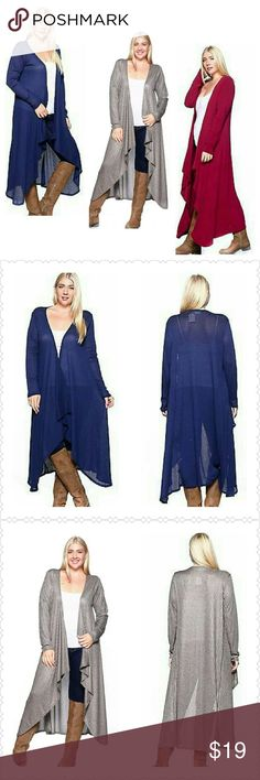 """Long Cardigan Duster (1X, 2X, 3X, 4X) Long Plus size Cardigan Duster. Looks great with Jeans, Slacks, or Skirts. 96% Polyester 4% Spandex..Approx 52"""" length. Thank you and Happy Poshing!!! Sweaters Cardigans"""