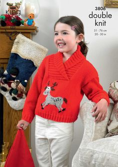 Children's Christmas jumper pattern Rudolph jumper Sweaters - King Cole Christmas Knitting