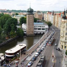 A view from the top of the Dancing House tower