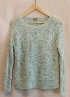 J. Jill Women's Light Blue Long Sleeve Sweater~Size S petite #JJill #Crewneck