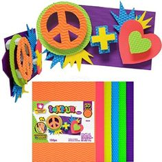 Creative Hands by Fibre-Craft -150-Piece Neon sm'Art Foam Text-UR Sheets - Arts and Crafts - No Glue or Scissors Required - For Ages 3 and Up