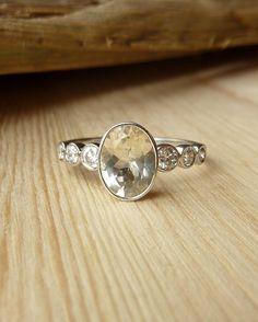 Oval Gemstone and Diamond Bezel Set Ring - Deposit by kateszabone on Etsy https://www.etsy.com/listing/162590481/oval-gemstone-and-diamond-bezel-set-ring