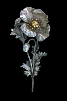 Brooch. SÉVERIN RONGA.  'The poppy'.  Sterling silver and gold.  c. 1909, French.
