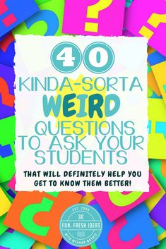 Middle school classroom - 40 Weird Questions to Ask Your Students to Help You Get to Know them Better – Middle school classroom Future Classroom, School Classroom, Classroom Activities, Classroom Ideas, Middle School Activities, Icebreaker Activities, Games For School, Middle School Procedures, Grade 8 Classroom