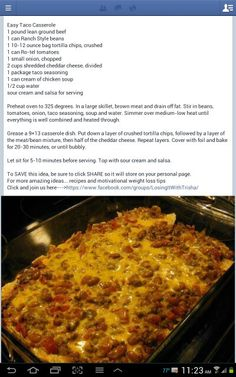 Easy Mexican Casserole - Think I will do this as a dip instead of a casserole. Will keep the tortilla chips out for dipping with. (taco dip with meat ground beef) Mexican Dishes, Mexican Food Recipes, Great Recipes, Dinner Recipes, Favorite Recipes, Mexican Trash, Yummy Recipes, Mexican Meals, Dinner Ideas