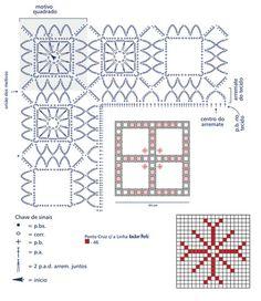 Criação: Coats Corrente Execução: Regina Godoy Material: •Linha Esterlina 8 (nov. de 350m): 2 nov. na cor BC (branco) e 1 nov. na cor 32 (vermelho) •Linha Anchor Perlé, 1 nov. na cor 46. •Ag. niquelada para crochê Corrente nº 4 (1,00 mm) •Tecido na cor branca com 14 fios do tecido em